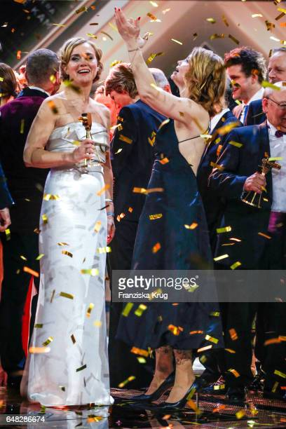 News anchor and award winner Caren Miosga with german comedian Annette Frier during the Goldene Kamera show on March 4, 2017 in Hamburg, Germany.