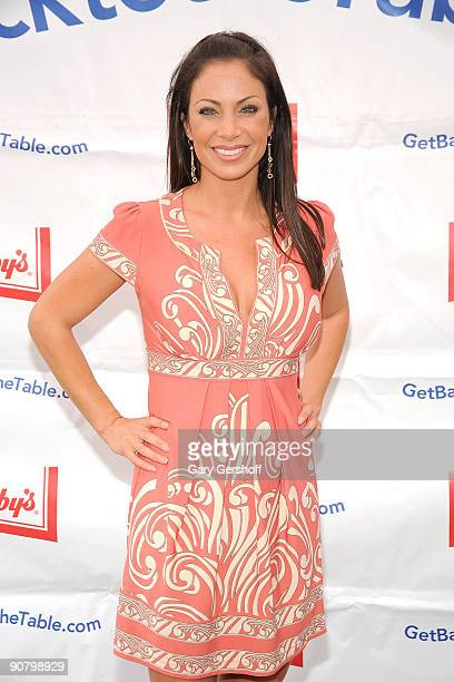 News anchor and event judge Jill Nicolini celebrates Get Back to the Table month at the South Street Seaport on September 15 2009 in New York City