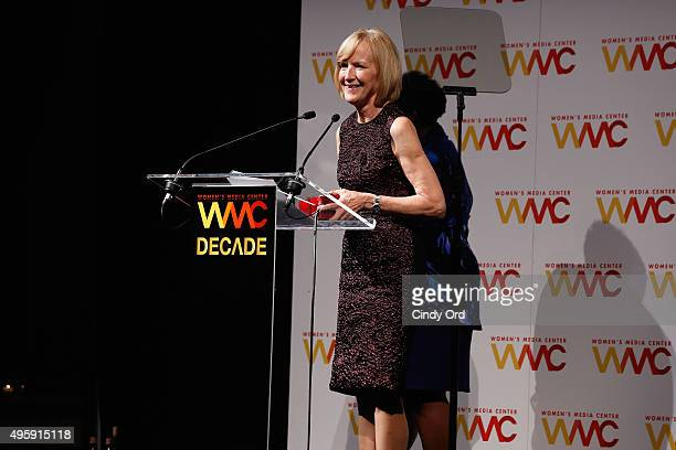 News Anchor and honoree Judy Woodruff speaks onstage during The Women's Media Center 2015 Women's Media Awards on November 5 2015 in New York City
