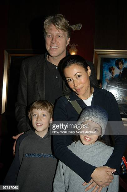TV news anchor Ann Curry arrives with husband Brian Ross and children for the US premiere of the movie Harry Potter and the Chamber of Secrets at the...