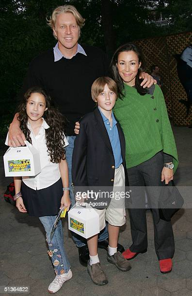 NBC News Anchor Ann Curry her husband Brian Ross and their children McKenzie and Walker attend the Shark Tale premiere at Central Park's Delacorte...