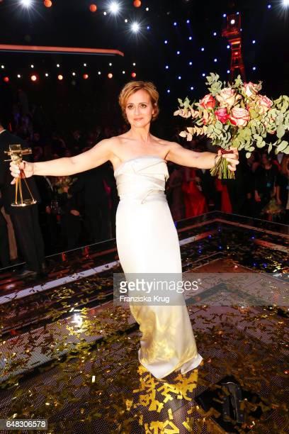 News anchor award winner Caren Miosga during the Goldene Kamera show on March 4, 2017 in Hamburg, Germany.