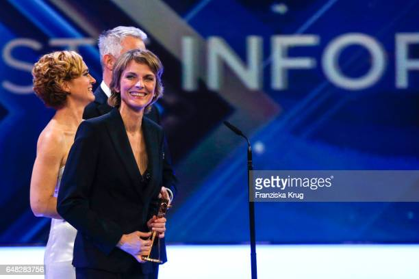 News anchor award winners Caren Miosga and Marietta Slomka during the Goldene Kamera show on March 4, 2017 in Hamburg, Germany.