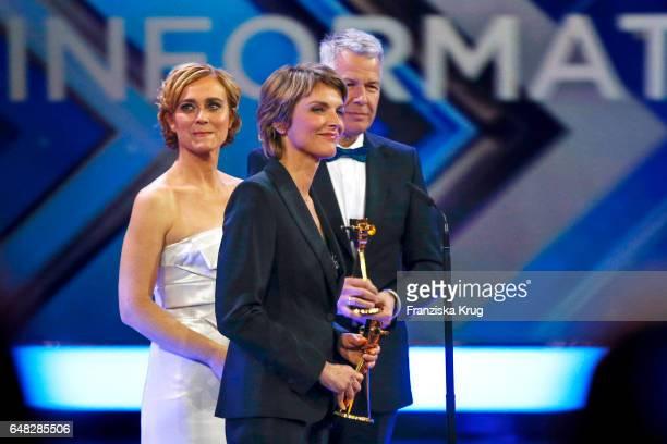News anchor award winners Caren Miosga, Peter Kloeppel and Marietta Slomka during the Goldene Kamera show on March 4, 2017 in Hamburg, Germany.