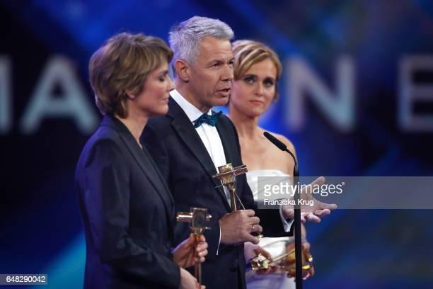 News anchor award winners Marietta Slomka, Caren Miosga and Peter Kloeppel during the Goldene Kamera show on March 4, 2017 in Hamburg, Germany.