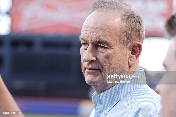 News anchor Bill O'Reilly throws out the ceremonial first pitch at Citi Field on June 15 2012 in the Queens borough of New York City
