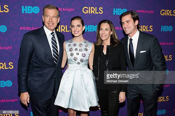 News anchor Brian Williams actress Allison Williams Jane Stoddard Williams and Douglas Williams attend the 'Girls' season three premiere at Jazz at...