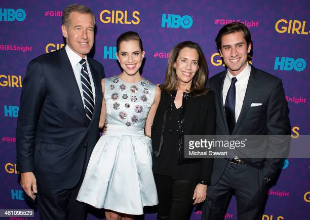 News anchor Brian Williams actress Allison Williams Jane Stoddard Williams and Douglas Williams attend the Girls season three premiere at Jazz at...