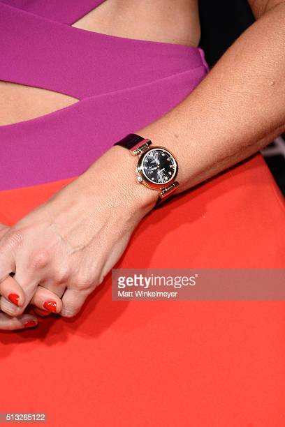 TV news anchor Courtney Friel watch detail attends the OMEGA celebrates the launch of the Master Chronometer Globemaster at Mack Sennett Studios on...