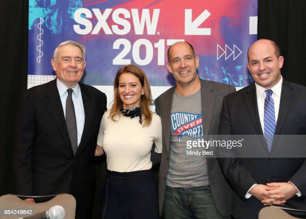 News anchor Dan Rather new correspondent Katy Tur Chief Political Analyst of ABC News Matthew Dowd and Brian Stelter of CNN attend 'The War at Home...
