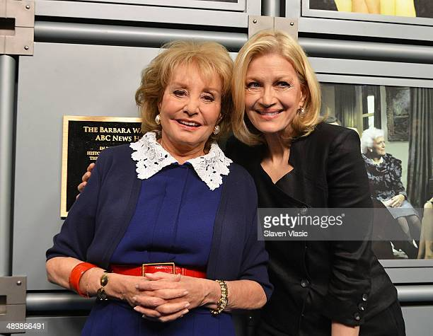 """News anchor Diane Sawyer and Barbara Walters attend the dedication ceremony as ABC News headquarters in New York is proclaimed """"The Barbara Walters..."""
