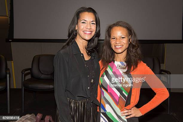 News anchor Fredricka Whitfield and Adrienne White attend the panel discussion Loving at National Center for Civil and Human Rights on December 13...