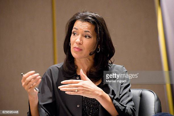 News anchor Fredricka Whitfield speaks on stage during the panel discussion Loving at National Center for Civil and Human Rights on December 13 2016...