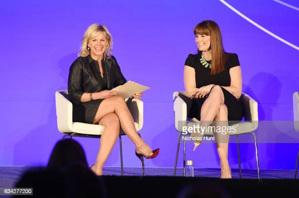 News anchor Gretchen Carlson and EditorinChief of the Meredith Parents Network Liz Vaccariello participate in a panel discussion during the American...