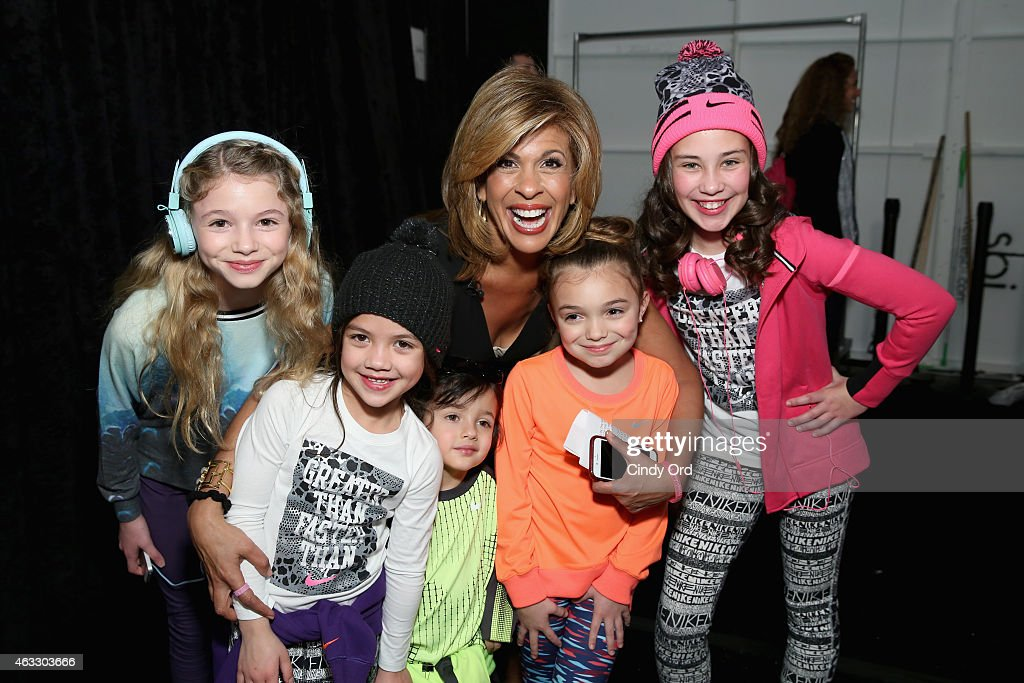 News anchor Hoda Kotb (C) poses backstage with models at the Nike Levi's Kids fashion show during Mercedes-Benz Fashion Week Fall 2015 at The Salon at Lincoln Center on February 12, 2015 in New York City.