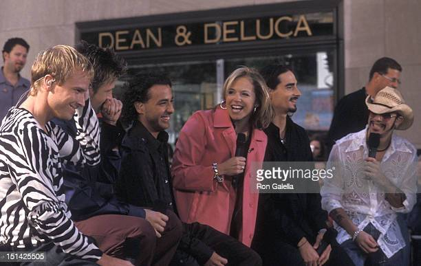 News anchor Katie Couric interviews pop group the Backstreet Boys Brian Littrell Nick Carter Howie Dorough Kevin Richardson and AJ McLean at 'The...