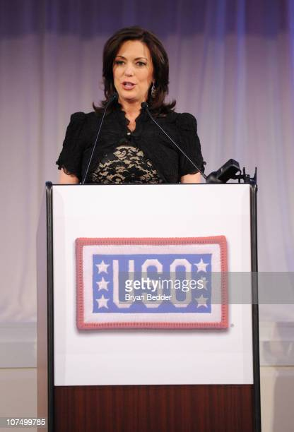 News Anchor Kyra Phillips speaks onstage at the 49th USO Armed Forces Gala Gold Medal Dinner to Honor Military Heroes and Volunteers at 583 Park...