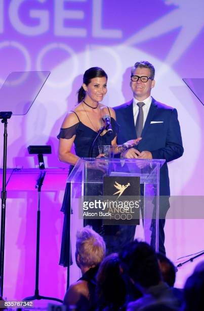 News anchor Lu Parker and Vice president/news director at KTLA 5 News Jason Ball speak onstage during Project Angel Food's 2017 Angel Awards on...