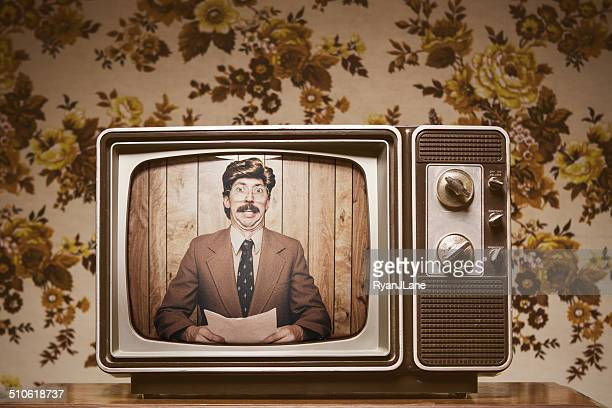 news anchor man on television - ugly wallpaper stock photos and pictures