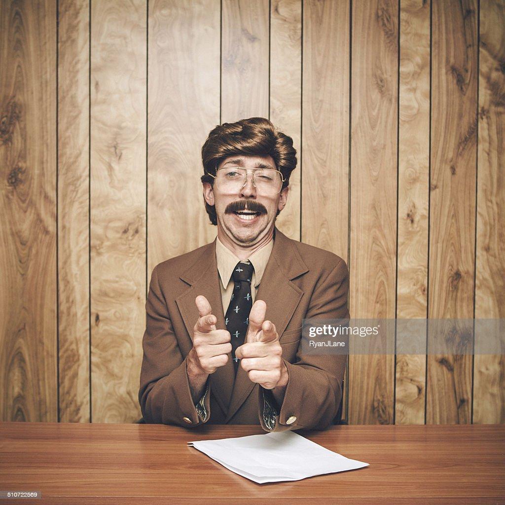 News Anchor Man Retro : Stock Photo