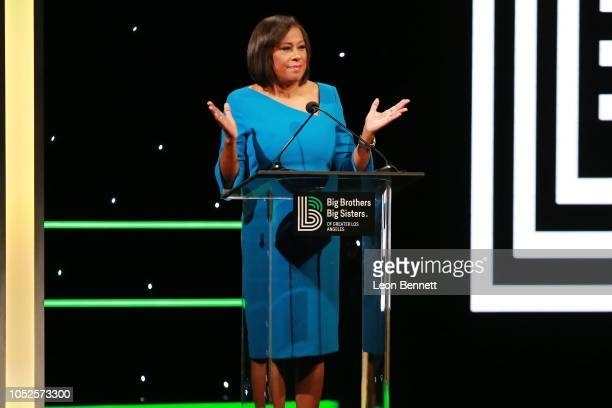 News Anchor Pat Harvey speaks to the crowd during Big Brothers Big Sisters Of Greater Los Angeles Big Bash Gala Inside at The Beverly Hilton Hotel on...