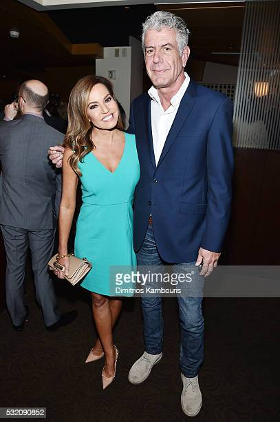 News anchor Robin Meade and chef Anthony Bourdain attend the Turner Upfront 2016 green room at The Theater at Madison Square Garden on May 18 2016 in...