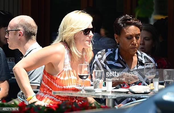 News anchor Robin Roberts and partner Amber Laign are seen outside 'Da Silvana Restaurant'on July 25 2014 in New York City