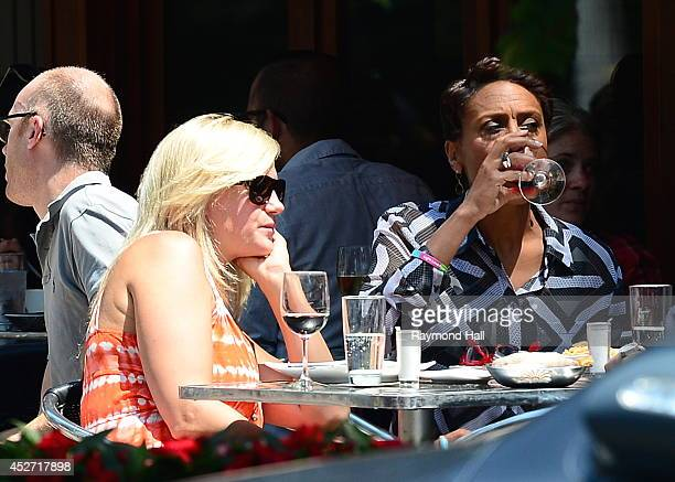 News anchor Robin Roberts and partner Amber Laign are seen outside Da Silvana Restauranton July 25 2014 in New York City
