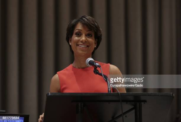 ABC News anchor Sade Baderinwa during the Observance of the International Women's Day at UN headquarters in New York under the theme 'Women in the...