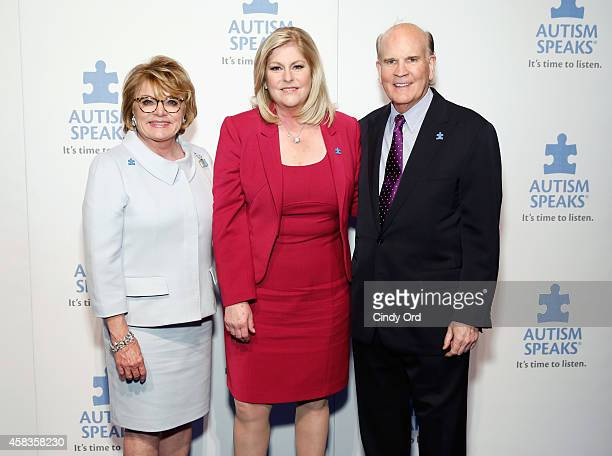 CNBC news anchor Sue Herera poses with CoFounders of Autism Speaks Suzanne Wright and Bob Wright at Autism Speaks Celebrity Chef Gala 2014 at...