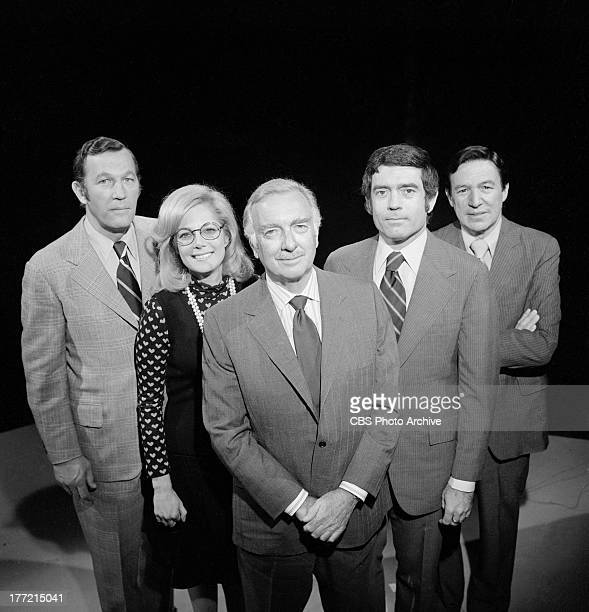 News anchor Walter Cronkite and his Election Night '74 team taken October 8, 1974. From left: Roger Mudd, Lesley Stahl, Cronkite, Dan Rather, and...