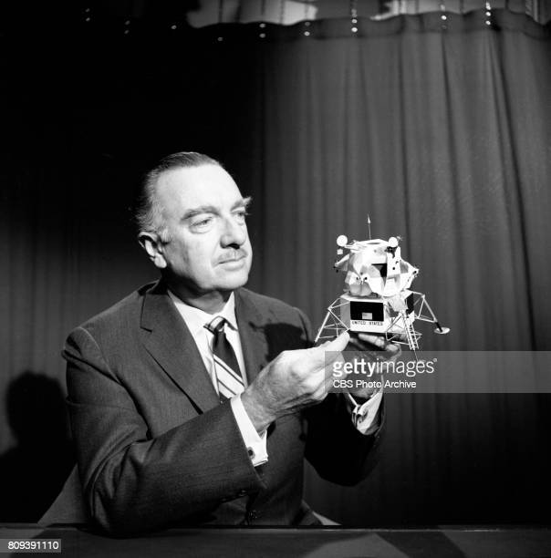 News anchor Walter Cronkite with a scale model of the Apollo 11 lunar module Image dated February 20 1969 New York NY