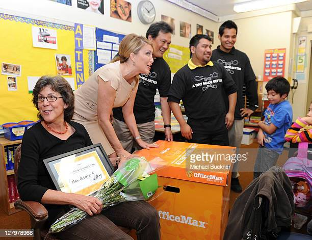 """News Anchor Wendy Birch joins Office Max's """"A Day Made Better"""" School Advocacy campaign presenting $1,000 in school suppiles to Mrs. Goebert's 3rd..."""