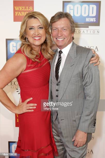 News anchor Wendy Burch and producer Nigel Lythgoe attend the Good News Foundation's Feel Good event of the year honoring Maria Shriver with the...