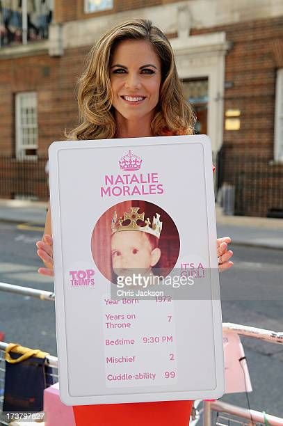 News Anchor with NBC Natalie Morales holds up her 'top trump' card outside the Lindo wing of St Mary's Hospital as the UK prepares for the birth of...