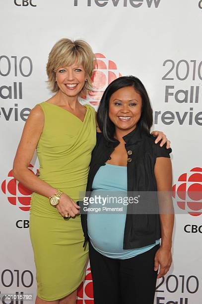 News anchora Heather Hiscox and Marivel Taruc attend CBC Television 2010 Fall Preview at the CBC Broadcast Centre on May 27 2010 in Toronto Canada
