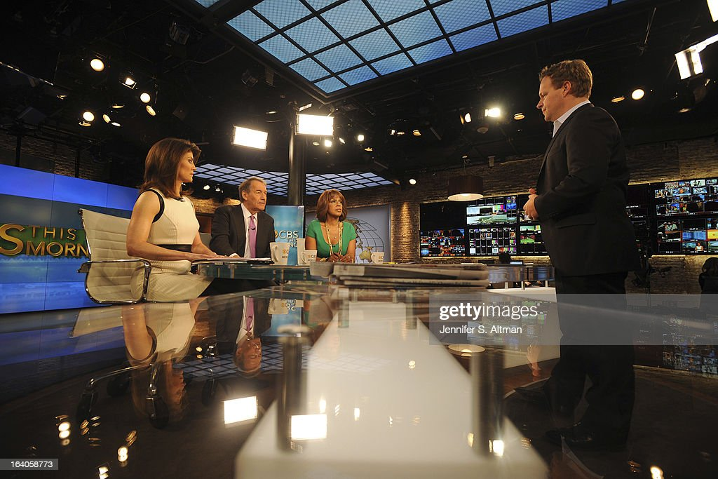 News anchors Charlie Rose, Gayle King and Norah O'Donnell are photographed with Chris Licht, Vice President, Programming and Executive Producer of 'CBS This Morning', for Los Angeles Times on January 29, 2013 in New York City. PUBLISHED