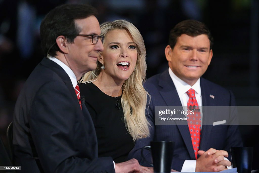 News anchors (L-R) Chris Wallace, Megyn Kelly and Bret Baier moderate the first prime-time Republican presidential debate hosted at the Quicken Loans Arena August 6, 2015 in Cleveland, Ohio. The top-ten GOP candidates were selected to participate in the debate based on their rank in an average of the five most recent national political polls.