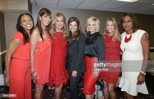 News Anchors Nischelle Turner Christine DeVine Wendy Burch Maria Shriver Leslie Miller Dorothy Lucey and Pat Harvey pose backstage at the Good News...
