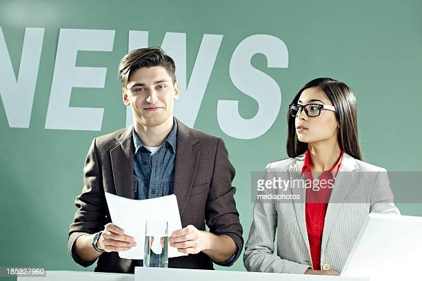 News announcers at work