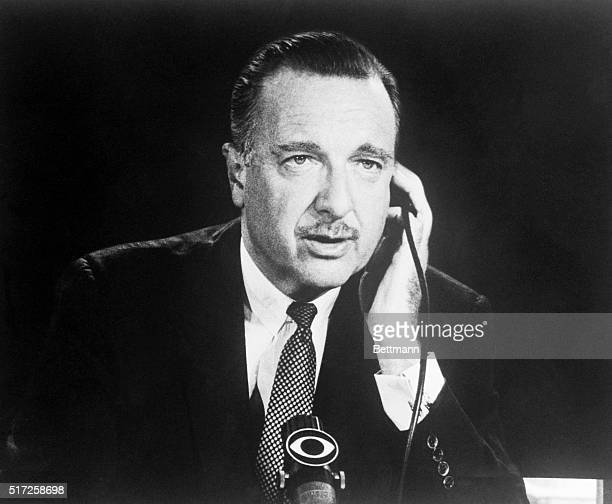 News broadcaster Walter Cronkite is shown here seated in studio.