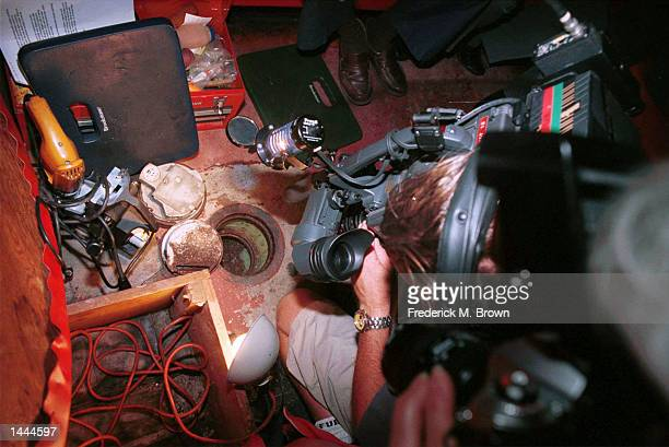 TV news camera person views an empty safe May 24 2000 at the Formosa Cafe in Los Angeles CA The safe belonged to 1940''s gangster Benjamin Bugsy...
