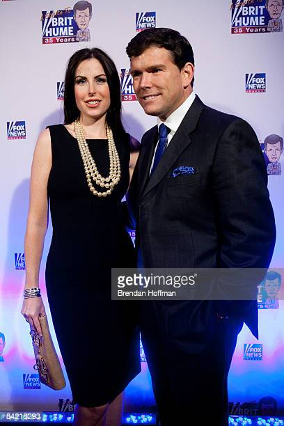 News Channel host Bret Baier poses with his wife Amy Baier on the red carpet upon arrival at a salute to FOX News Channel's Brit Hume on January 8...