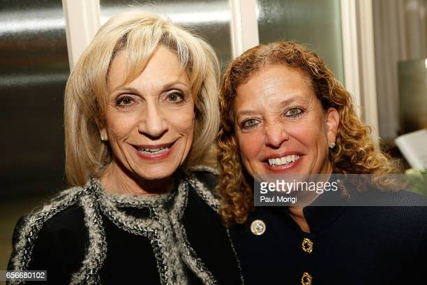 News Chief Andrea Mitchell left and Rep Debbie Wasserman Schultz attend ELLE and Bottega Veneta Women in Washington dinner hosted by Robbie Myers...