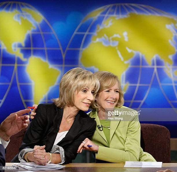 News Chief Foreign Affairs Correspondent Andrea Mitchell shares a moment with Senior Correspondent of PBS' The NewsHour with Jim Lehrer Judy Woodruff...