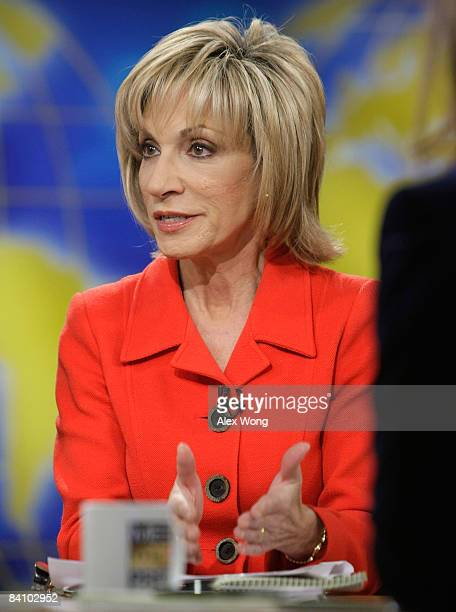 NBC News Chief Foreign Affairs Correspondent Andrea Mitchell speaks during a taping of Meet the Press at the NBC studios December 21 2008 in...