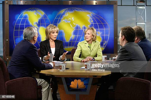 News Chief Foreign Affairs Correspondent Andrea Mitchell speaks as moderator Tom Brokaw Senior Correspondent of PBS' 'The NewsHour with Jim Lehrer'...