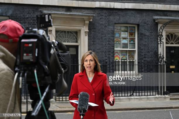 News Chief Political Correspondent Vicki Young reports on camera outside 10 downing Street, in London on May 10, 2020. - Prime Minister will on...