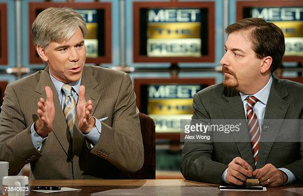 News Chief White House Correspondent David Gregory speaks as NBC News Political Director Chuck Todd looks on during a taping of 'Meet the Press' at...
