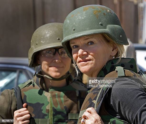 ABC News' Chief White House correspondent Martha Raddatz stands next to her producer Ely E Brown on her 16th trip into Iraq seen here March 17 on a...